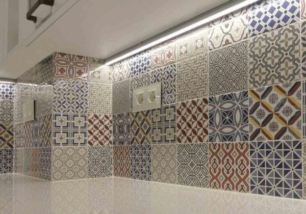 cocina baldosas mosaico